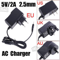 Wholesale Android Tablet Ac Adapter - 10pcs 5V 2A 2.5mm US EU UK Plug Converter Tablet Charger Power Supply AC Adapter for All Android Tablet PC Q88 A13 A23 A20