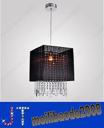 Wholesale Crystal Chandelier Lamp Shades - Stylish Pendant Light with Black Fabric Shade Modern Crystal LED Chandelier Ceiling Light Dia 300mm*H460mm 1 lamp pendant HSA102