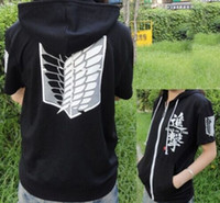 Wholesale Cardigan Sweaters Short Men - Anime Attack on Titan Cosplay Hoodies Investigation Corps T-Shirt Sweaters Black