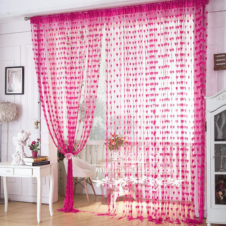 Special Living Room Curtains Korean Heart Shaped Wire Line Curtain ...
