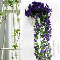 Wholesale Violet Silk Flowers - Lifelike Violet Orchid Ivy Artificial Flower Hanging Plant Silk Garland Vine ,African Violet