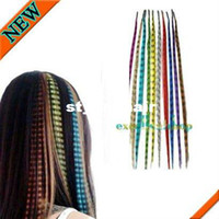 Wholesale Grizzly Mix - Wholesale-100% High Quality 20 GRIZZLY Feather Hair Extension with beads + Tools