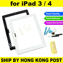 Wholesale Ipad4 Digitizer - Wholesale-Original New Black or White For iPad3 iPad4 iPad 3 iPad 4 Glass Touch Screen TP Digitizer Replacement Adhesive + Repair Tool Kit