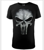 Wholesale Skull Print Shirts Women - Free shipping New Fashion Skull t-shirt the punisher slim black two-color print O-Neck short sleeve Tops Tees For women men