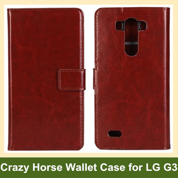 Wholesale Multicolor Crazy Horse Pattern PU Leather Wallet Flip Cover Case for LG G3 D855 Free Shipping