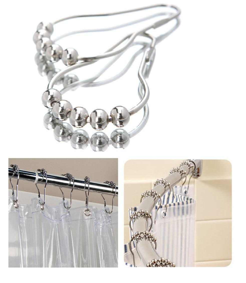 Rolling Shower Curtain Hooks Rings Roller 5 Pearls Easy Sliding Mute Durables Shower Curtain Pulley Chrome Mirror Finished