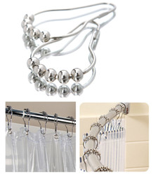 Wholesale Pearl Curtains - Rolling Shower Curtain Hooks Rings Roller 5 Pearls Easy Sliding Mute Durables Shower Curtain Pulley Chrome Mirror Finished 12pcs set