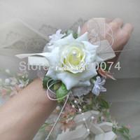 corsages poignets violets achat en gros de-Corsage poignet de mariage ou de bal, 11 couleurs, soie rose et rubans, blanc, bleu, champagne, rouge, violet, rose, 6pcs / lot