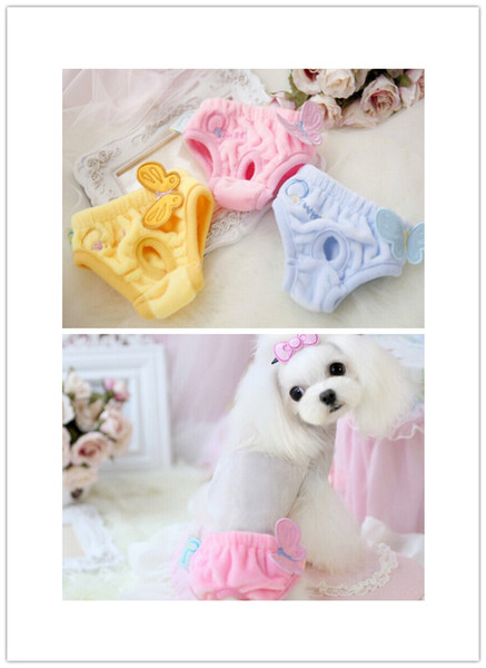 Free shipping pet dog Physiological Pants Female Animals Dog Sanitary Pants Cute for Dogs butterfly soft fleece material