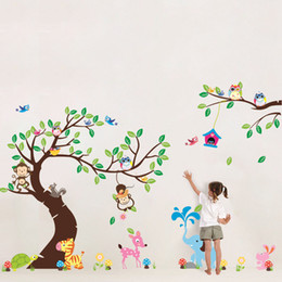 "Wholesale Giraffe Tree Stickers - Free Express 100""x56"" (255x142cm) Forest Park Tree Animals Giraffe Owl Lion Wall Stickers Nursery Decal Kids Home Decors"
