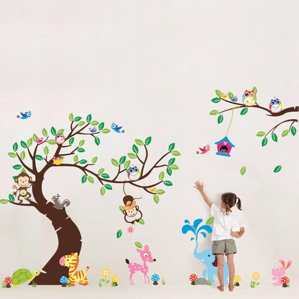 "Free Express 100""x56"" (255x142cm) Forest Park Tree Animals Giraffe Owl Lion Wall Stickers Nursery Decal Kids Home Decors"