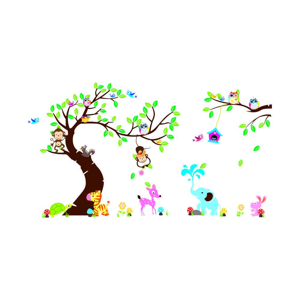 "Free Express 100""x56"" 255x142cm Forest Park Tree Animals Giraffe Owl Lion Wall Stickers Nursery Decal Kids Home Decors"