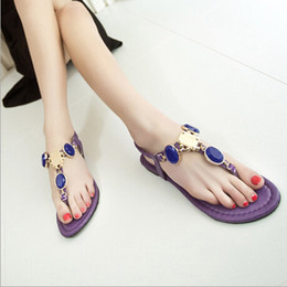 Wholesale Lambdoid Flip Flop - New Korean brief large gem rhinestone lambdoid women's flip-flop shoes flat beaded flip diamond sandals