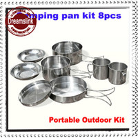 Wholesale Pounds Cups - New 2014 Portable aluminum Mess Kit Camping Pan Set 8pcs Outdoor Cookware Drinking Cup Cooking Pan 1-2people
