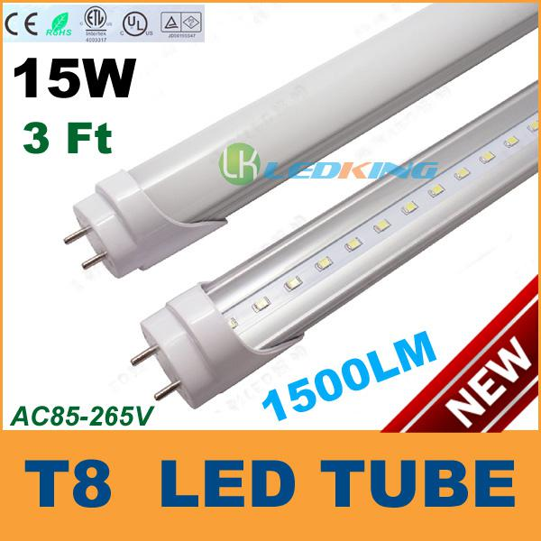 15W LED T8 Leuchtröhre 3ft 900mm 0.9m 3feet LED Leuchtstofflampe Lampe SMD2835 Hohe Helligkeit 1500LM AC85-265V CE FCC ETL SAA UL 25pcs / lot
