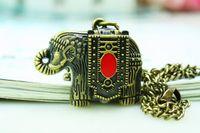 Wholesale Animal Can Watch - High Quality Retro Vintage Bronze Punk Steampunk Quartz Pocket Watch Elephant Pattern Chain Necklace Clock Clasp can change