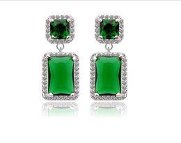 Wholesale Fashion Jewellery Hoop Earring - Fashion Jewellery Emareld blue&white sapphire 10KT Laday's Earrings