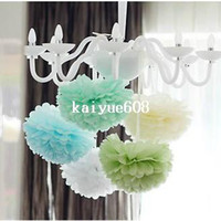 Wholesale Tissue Pom Free Shipping - Free Shipping 15pcs 10cm Tissue Paper Pom Poms Wedding Party Decor Craft Festival decoration