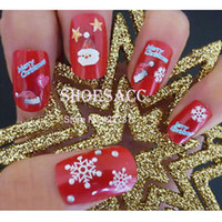 Wholesale 2d Christmas Decorations - Wholesale 6pcs set Christmas Mix Colors Snow Snowflake 3D DIY Nail Art Stickers Decals Decorations 19344
