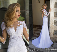 Wholesale Nurit Hen - 2014 Beach Wedding Dress Mermaid V-Neck Chiffon Lace Bridal Gown Appliques Open Backless Sheer Neck Long Poet Sleeves Nurit Hen