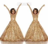Wholesale Glitz Pageant Dresses Little Rosie - 2015 Lace Girls Pageant Dazzling Little Rosie Pageant Dress Sequins Gold Ball Gown Sequins Glitz Pageant Dresses Girl's Party Dresses AS75