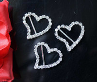 Wholesale Diamante Clear Rhinestone - 100pcs lot 18mm Bar Clear Rhinestone Buckle Heart For Wedding Invitation Diamante Ribbon Sliders 28*25mm