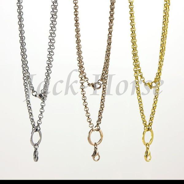 Trasporto libero il più popolare 2014 gioielli moda 4mm catena in acciaio inox rolo catena medaglione galleggiante catena di colore