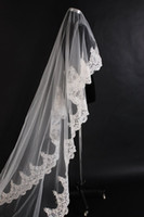 In Stock Big Discount !! All'ingrosso - Vintage White Ivory Long Tulle Wedding Velo da sposa One Layer Applique Veli da sposa in pizzo