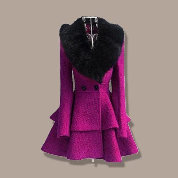 2019 New Arrivals Women Purple Winter Lady Coat Turtleneck Black Fur