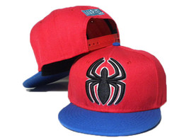 Wholesale Spiderman Embroidered - 1pcs free shipping Red Blue Kid's Spiderman Snapback Hats BOY Superman Baseball Cap Boy's Caps Cartoon Snapback Embroidered Hat DDMY