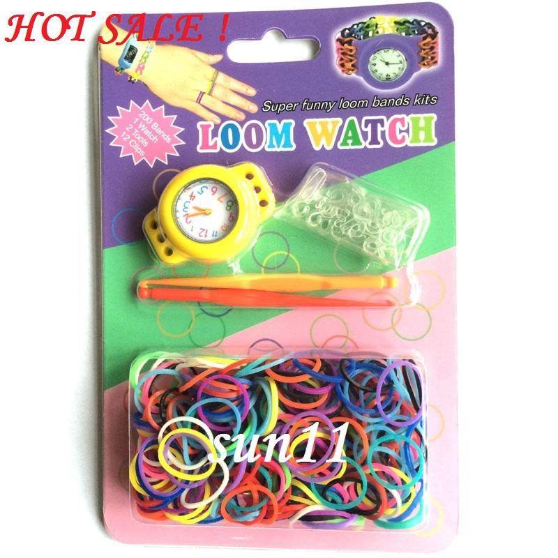 Newest ! 2014 Good DIY Knitting Braided Loom Watch Rainbow Kit Rubber Loom Bands Self-made Silicone Bracelet (Watch+Rubber+Clip+Hook) 50pcs