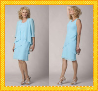 Wholesale Jackets For Chiffon Wedding Gowns - 2015 Light Blue 3 4 Sleeves Mother of the Bride Groom Dresses With Jacket Knee Length Evening Formal Dress Gowns For Wedding AS90