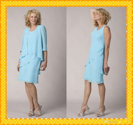 Wholesale Long Jacket Dresses For Weddings - 2015 Light Blue 3 4 Sleeves Mother of the Bride Groom Dresses With Jacket Knee Length Evening Formal Dress Gowns For Wedding AS90