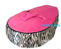 Wholesale Baby Bean Bag Pink - Portable Baby Bean Bag Seat - New Kids Toddler zebra with pink top Beanbag Chair   Bed.Deluxe, Authentic & Original   Dual Top
