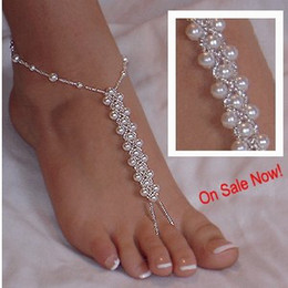 Wholesale wedding pearl sandals - Hotsale beach wedding barefoot sandals,Elastic bridal foot jewelry slave anklets chain one size for all dress up your feet FREE SHIPPING