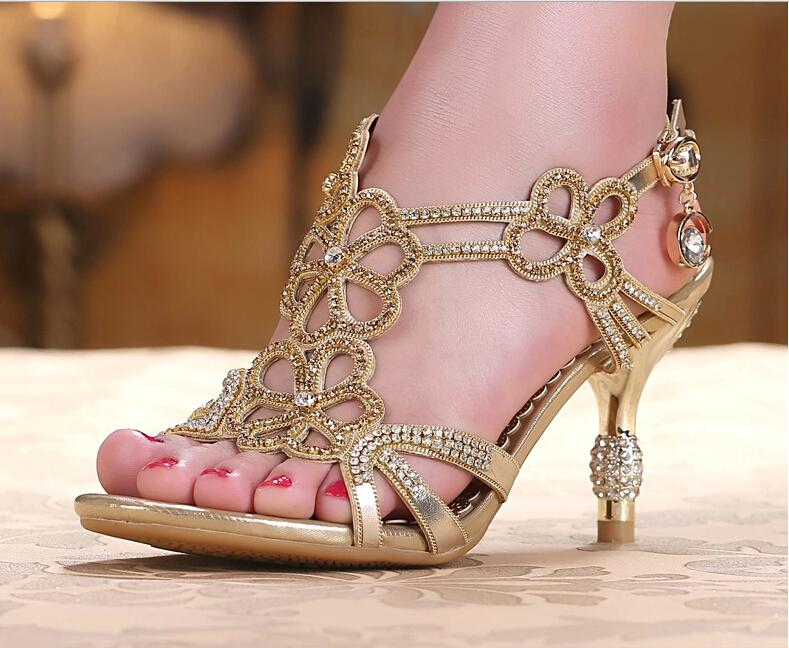 Gold Amp Blue Sandal Floral Crystal Rhinestones 8cm High Heels 2014 New Quality Prom Evening Party Dress Women Lady Bridal Wedding Shoes