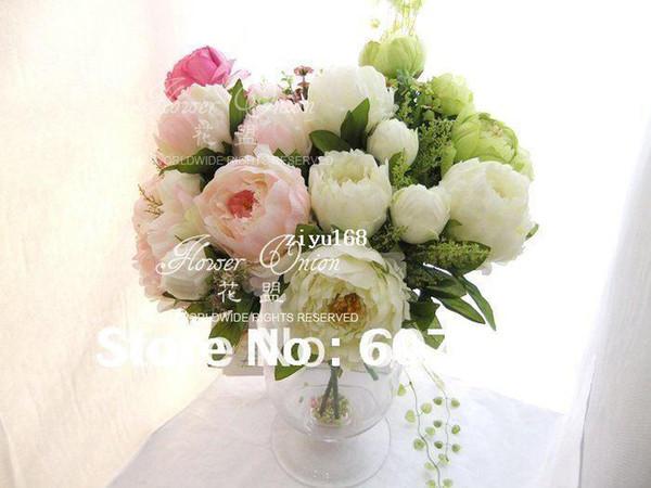 peonía de alta calidad, ramo de novia, centro de mesa de la fiesta de bodas, decoración del hogar de Navidad arreglo de flores artificiales de seda