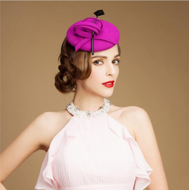 c3ecfad84fa Purple Bridal Hats Pillbox Fascinator Hats Wool Cocktail Hats ...