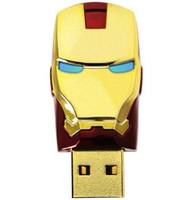 Wholesale Iron Men Pen Drive - 256GB 128GB 64GB LED Iron Man Head USB 2.0 USB Flash Drives Pen Grade A Drives Memory Stick U Disk for iOS Windows Android USB Stick