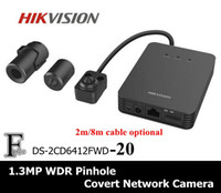 Wholesale Cctv Covert Cameras - Multi-language! Hikan DS-2CD6412FWD-20 1.3MP 960P POE WDR IP 2.8mm Lens Optional Mini Pinhole Covert Surveillance Network CCTV IP Camera