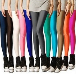 Wholesale Fluorescent Leggings Black - Fashion elastic fluorescent super elastic thin brand candy color neon 9 pants shaping leggings for women free shipping