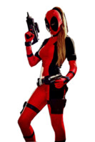 2014 Lady Deadpool Black and Red Spandex Freeshipping One Pi...