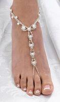gelin nedime sandaletler toptan satış-Seksi rhinestone plaj düğün inci yalınayak sandalet, gümüş kaplama gelin ayak bilezik gelinlik çiçek kız İyi kalite ücretsiz kargo