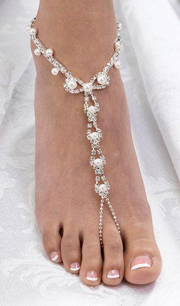Sexy strass plage mariage perle sandales aux pieds nus, argent plaqué mariée pied bracelet demoiselle d'honneur fille de fleur de bonne qualité livraison gratuite