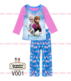 Wholesale Princess Pyjamas - 2014 newest Girls frozen Princess elsa Pajamas Sets Kids Autumn Clothing Set long sleeve anna Casual Pyjamas