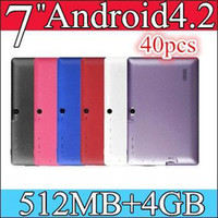 Wholesale Generic Tablets - 40PCS JS-1 Generic Allwinner A23 7 Inch Android Tablet PC Q88 Dual Core Android 4.2 WIFI 512MB 4GB dual cameras 9 color PB07-2