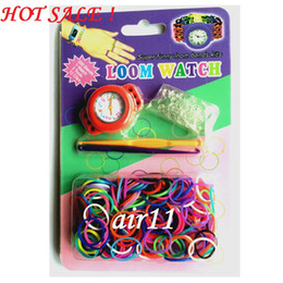 Wholesale Loom Watches Kits - Newest 2014 Good DIY Knitting Braided Loom Watch Rainbow Kit Rubber Loom Bands Self-made Silicone Bracelet (Watch+Rubber+Clip+Hook) 20pcs