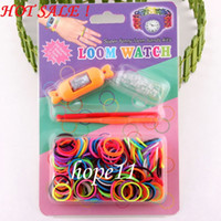 Wholesale Loom Rubber Band Kits - Hottest 2014 DIY Knitting Braided loom Watch Rainbow Kit Rubber Loom Bands Self- made Silicone Bracelet (Watch+Rubber+Clip+Hook) 50pcs