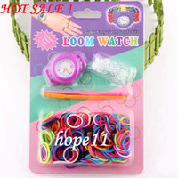Wholesale Knitted Watch Band - Newest 2014 DIY Knitting Braided loom Watch Rainbow Kit Rubber Loom Bands Self-made Silicone Bracelet (Watch+Rubber+Clip+Hook) 100pcs