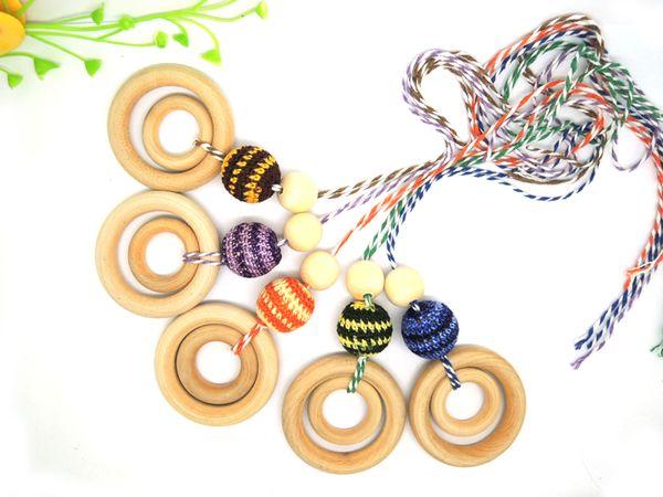 Chunky Teething ring Nursing Necklace Crochet beads coffee grey - Newborn baby Teething Toy - NW1486